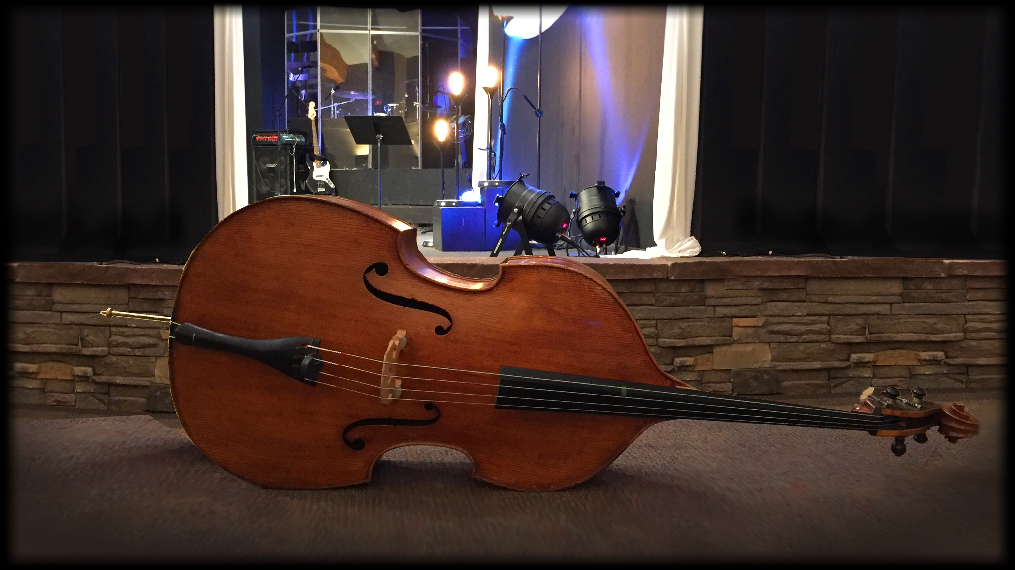 Image of instrument in front of stage.