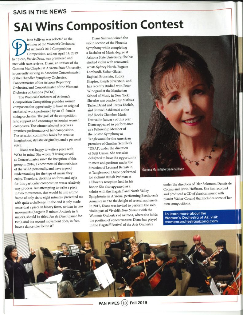 pan pipes article featuring Diane Sullivan